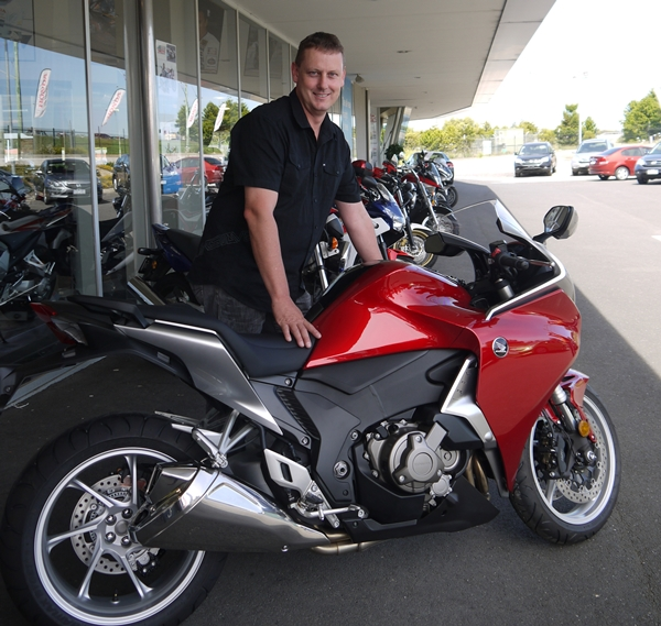 Adrian Ikin with his Honda VRF1200 awarded at the annual Snowy Ride late last year.