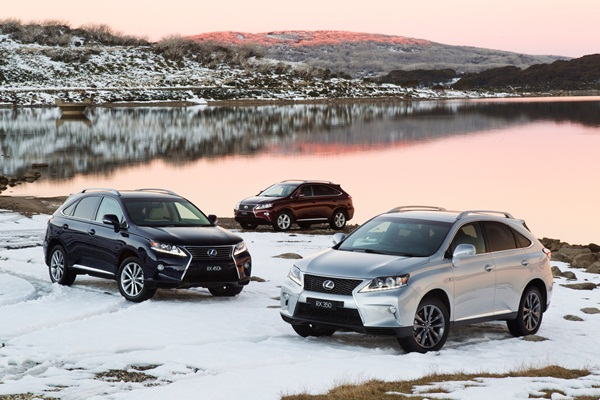 2012 Lexus RX Range - RX 350 F Sport (right), RX 450h Sports Luxury (left) and RX 270 (rear)