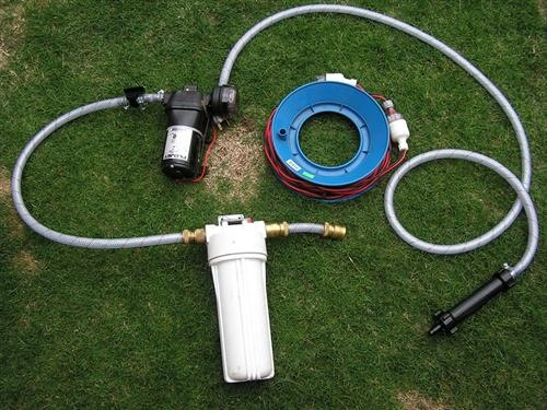 OzRoamer water filter setup for travelling