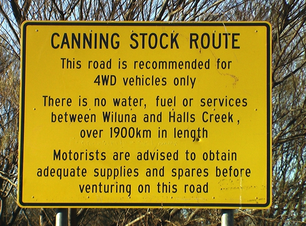 Canning Stock Route sign