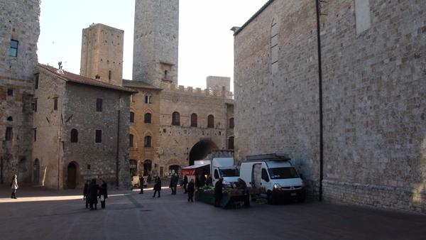 San Gimignano produce vendor on streets