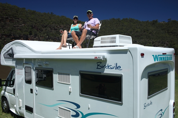2012 Winnebago Birdsville Range sitting on roof