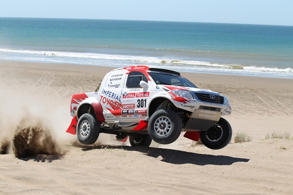 Toyota Hilux on the podium in 2012 Dakar rally