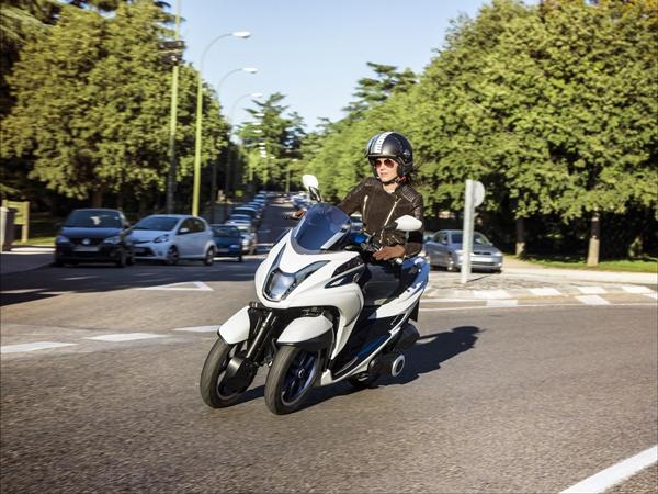 Yamaha reveals its new Leaning Multi Wheel vehicle at the Brisbane Show 2014.