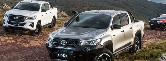 2018 Toyota HiLux Rugged X (front), Rogue (left) and Rugged (rear)