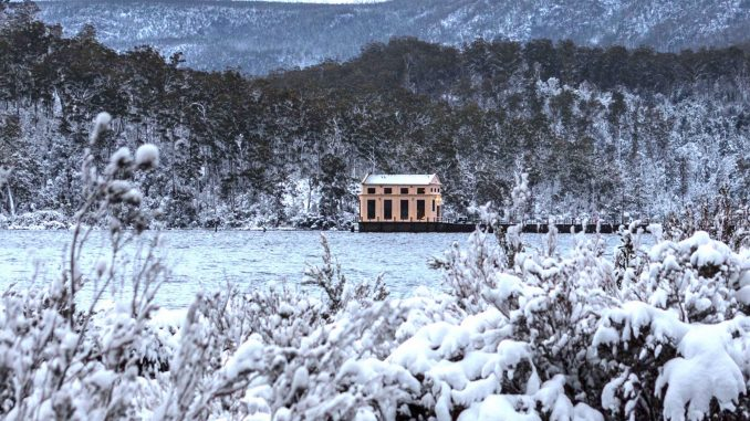 Pumphouse Point in snow