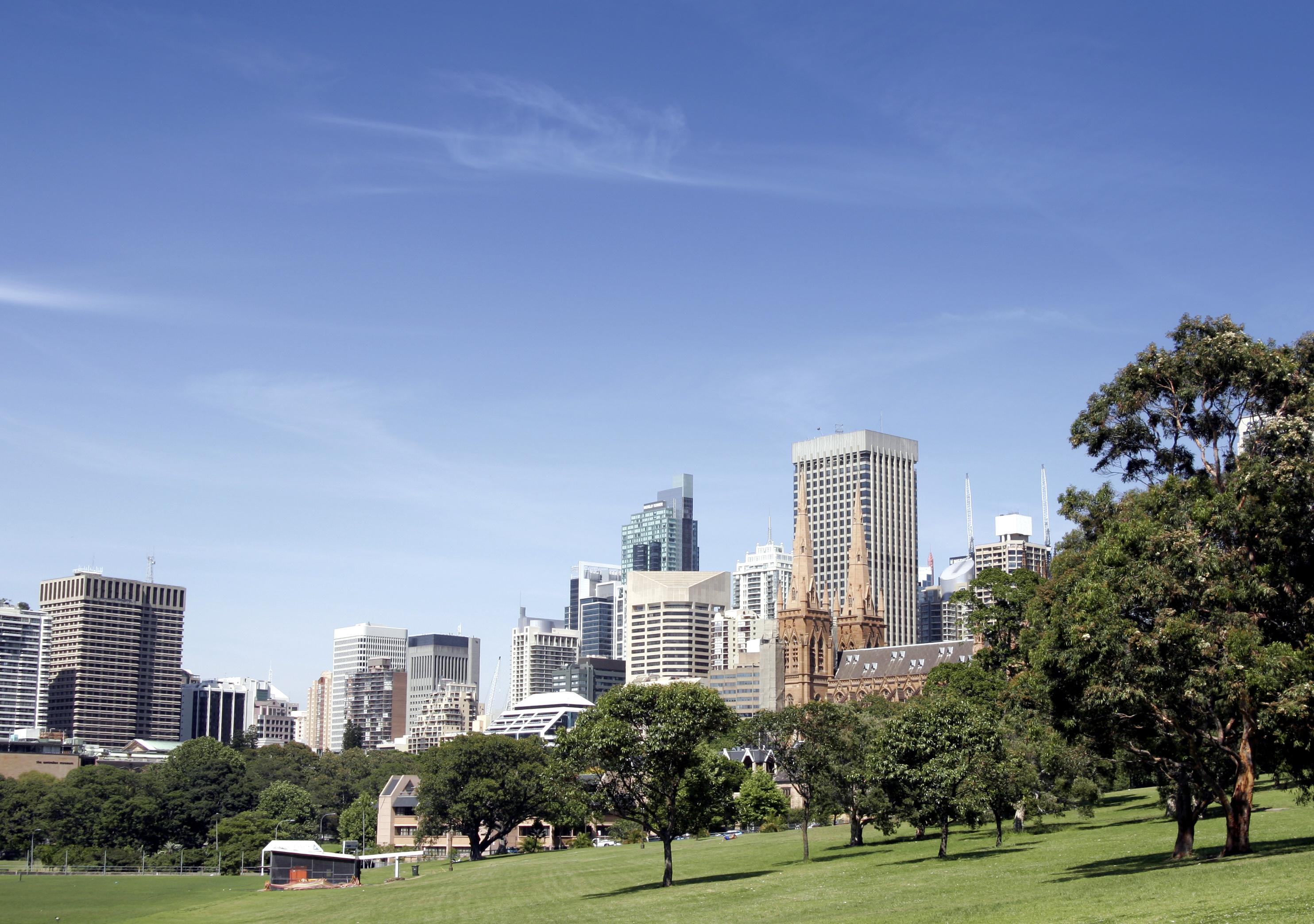 Urban Public Park In Front Of Tall City Office Buildings, Sydney, Australia