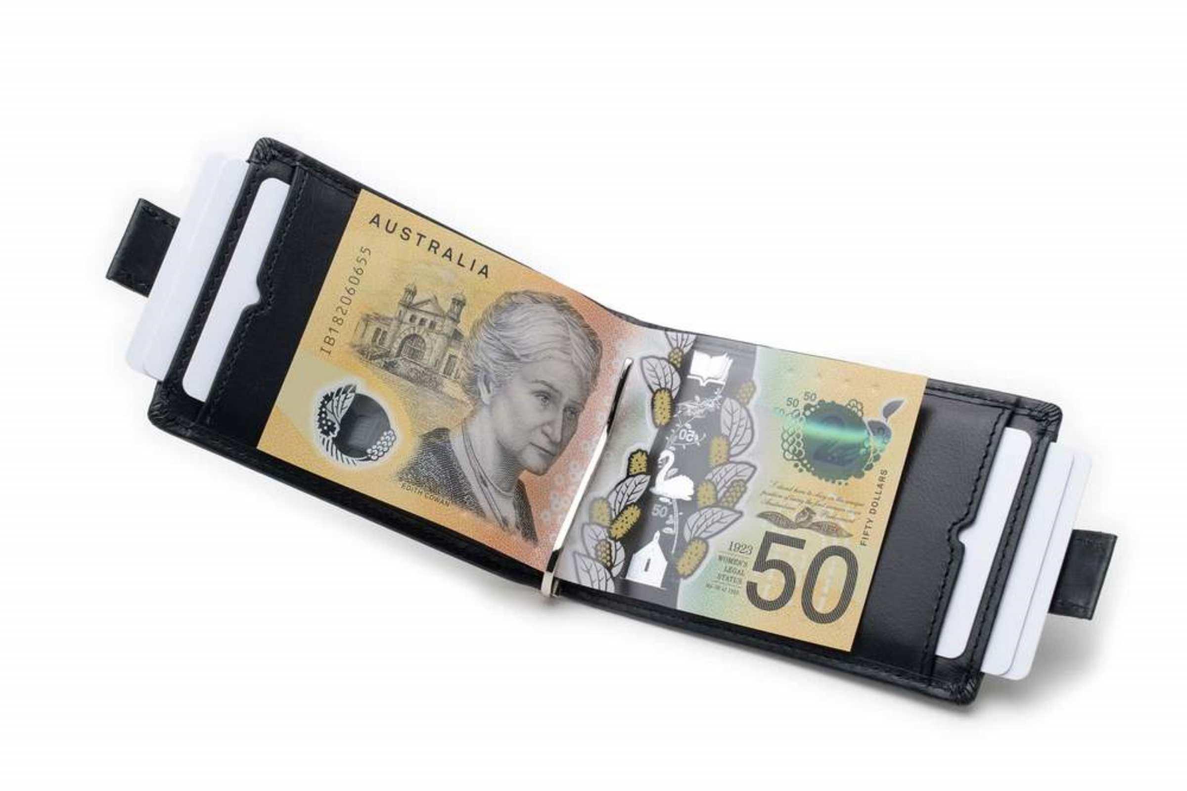 karakoram2 Slimline mens money clip leathe wallet Australia black RFID cardholder