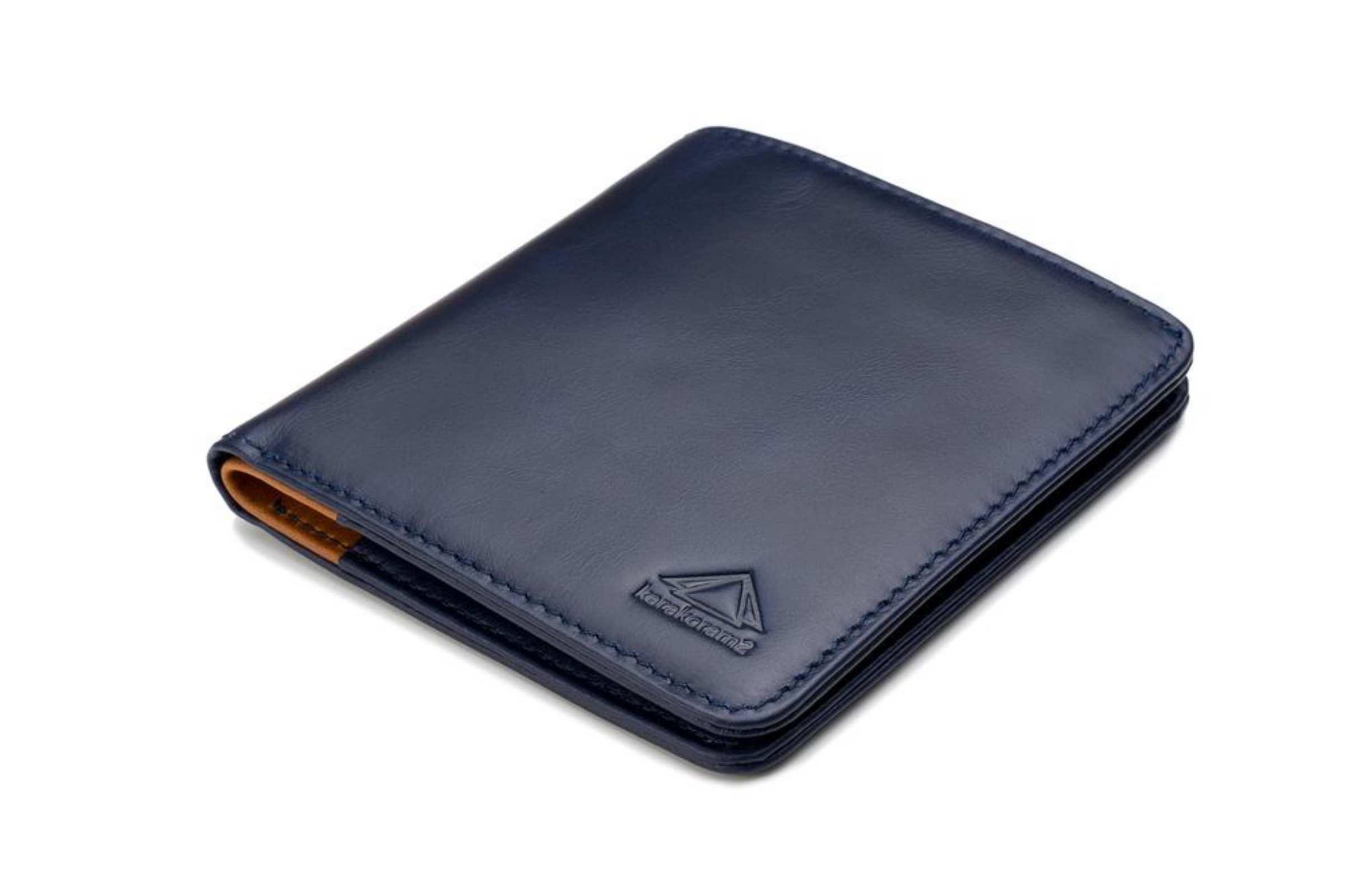 karakoram2 Sublime mens bifold leather wallet pulltab Navy blue RFID protected Australia 2
