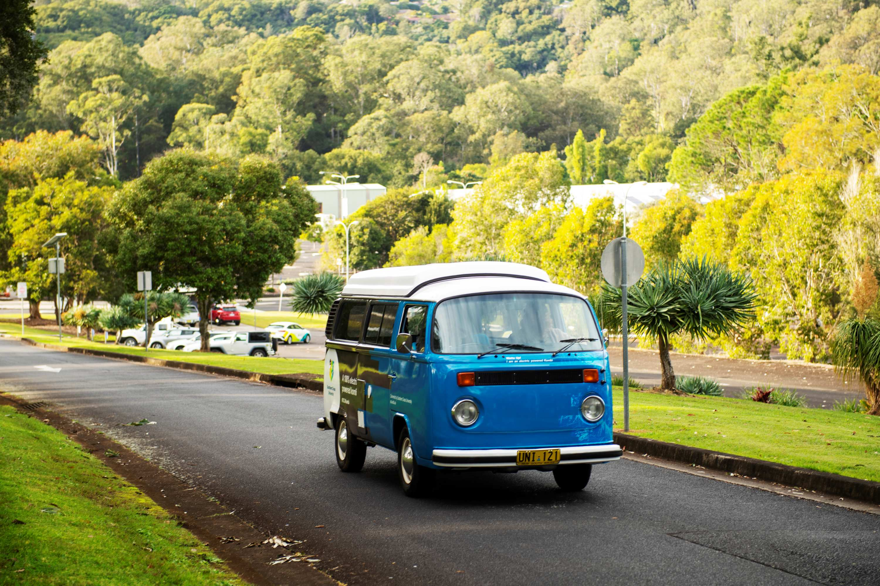 1974 Kombi van converted to electric drives on Lismore campus.