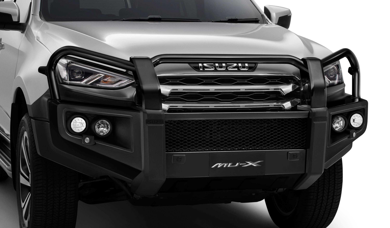 21MY ISUZU MU-X LS-T Mercury Silver metallic - Bull Bar Satin Black Steel.