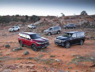 2021 Toyota LandCruiser 300 Series range (L-R) VX, GX, GR Sport, GXL, Sahara and Sahara ZX.